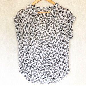 PLEIONE sheer blouse w cuffed sleeves